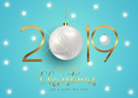 Happy New Year background with hanging baubles vector