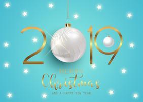 Feliz ano novo fundo com enfeites de suspensão