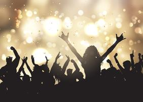 Party people on gold bokeh lights background