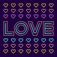 Love Neon Sign Word With Heart On Dark Background