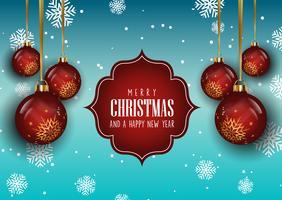 Kerstmisachtergrond met hangende snuisterijen