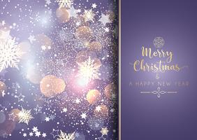 Decorative christmas background with bokeh lights and snowflakes vector