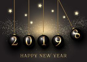 Happy New Year background with hanging baubles