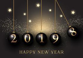 Gelukkige Nieuwjaarachtergrond met hangende snuisterijen