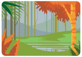Lake i Springtime Vector