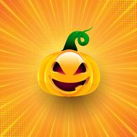 Halloween background with pumpkin on starburst design