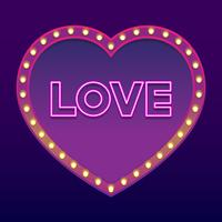 Neon Word Love Happy Valentine's Day Design Element