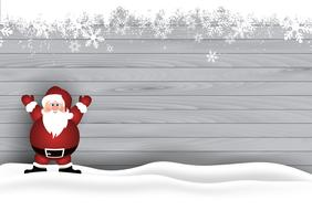 Christmas background with Santa on wooden texture
