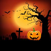 Fondo de Halloween con calabaza y árbol fantasmagórico
