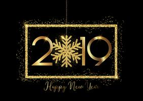 Happy New year background with gold lettering and glittery snowf