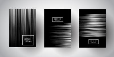Diseños de folletos de rayas de plata.