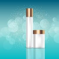 Blank cosmetic bottles on glittery background