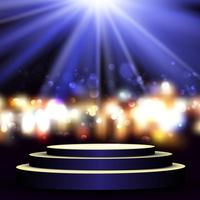 Empty podium on bokeh lights background