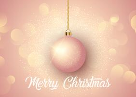 Rose gold Christmas background with hanging bauble