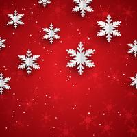 Christmas background with 3D style paper snowflakes