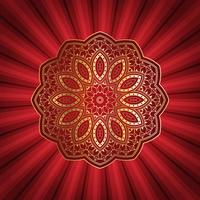Decorative mandala design on starburst background