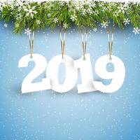 Happy New Year background with hanging numbers vector