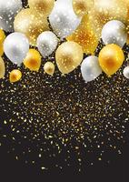 Celebration background with balloons and confetti  vector