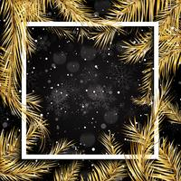 Christmas background with gold fir tree branches and white frame