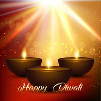 Diwali background with bokeh lights and lamps vector