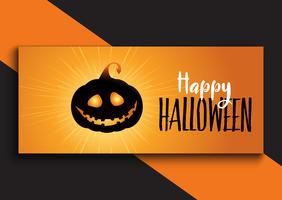 Diseño de banner de Halloween con calabaza linda