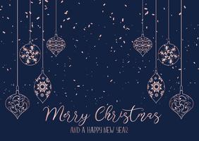 Weihnachtshintergrund mit hängenden Dekorationen