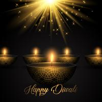 Diwali background with oil lamps on starburst background
