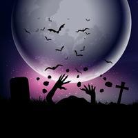 Fundo de dia das bruxas com as mãos de zumbis contra o céu ao luar 0209