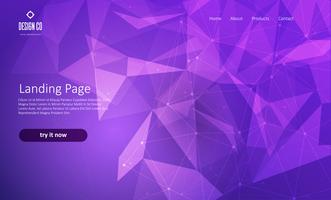 Abstract website landing page with low poly design