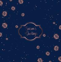 Rose gold and blue Christmas card design  vector