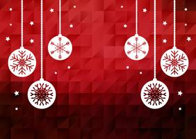 Christmas baubles on low poly background