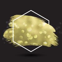 Abstract background with metallic gold texture in hexagonal fram