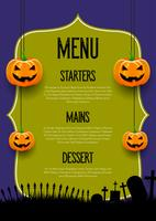 Design de menu assustador de Halloween