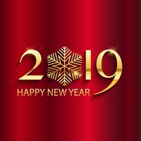 Happy New year background with gold lettering and snowflake desi