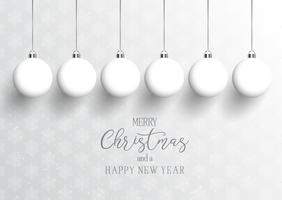 Christmas and New Year background with hanging baubles