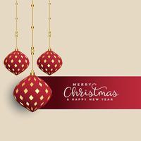 Felicitación navideña premium con bolas de navidad decorativas.