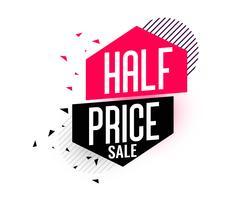 banner de venda metade do preço em estilo memphis