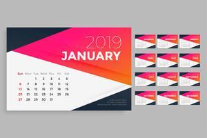 moderne Entwurfsvorlage für 2019 Kalender