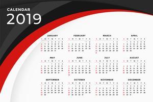 2019 modernes rotes wellenförmiges Kalenderschablonendesign