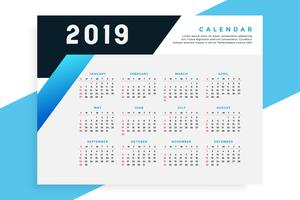 plantilla de calendario de negocios estilo 2019