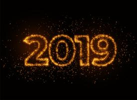 2019 writter in shiny sparkles particle effect