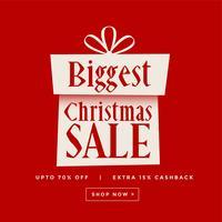 bannière rouge cadeau de vente de Noël