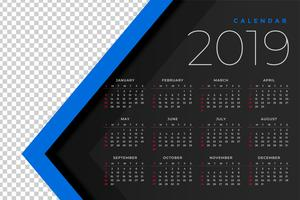 2019 calendar template with image space
