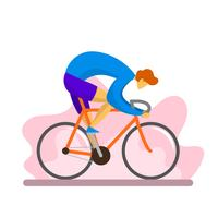 Flat Modern Boy Rides Single Speed Bicycle Vector Illustration