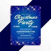 lovely sparkles christmas flyer on blue background