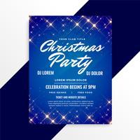 lovely sparkles christmas flyer on blue background
