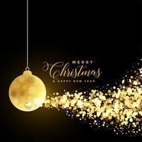 saudação de Natal festival com bola de Natal e partículas de ouro