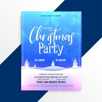 merry christmas winter scene party flyer template