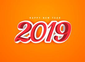 happy new year 2019 in 3d style