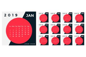 design del modello di calendario 2019 creativo